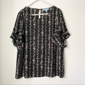 Cece Cynthia Steffe Black Floral Bell Sleeve Top